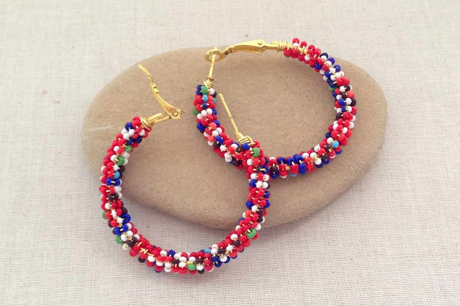 Seed Bead Wred Hoops Confetti Earrings
