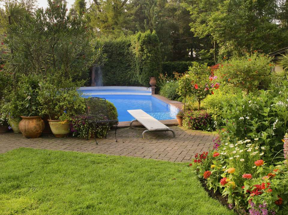 pool with beautiful garden