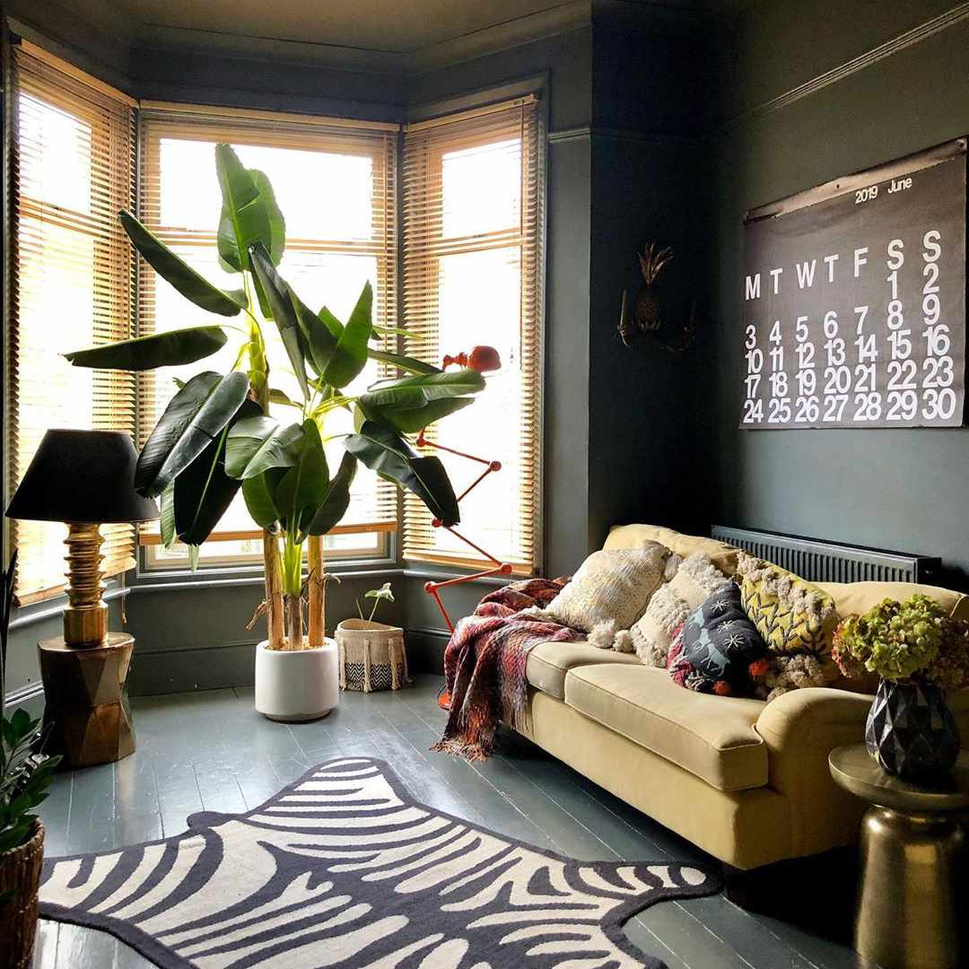 Living room with a faux zebra rug