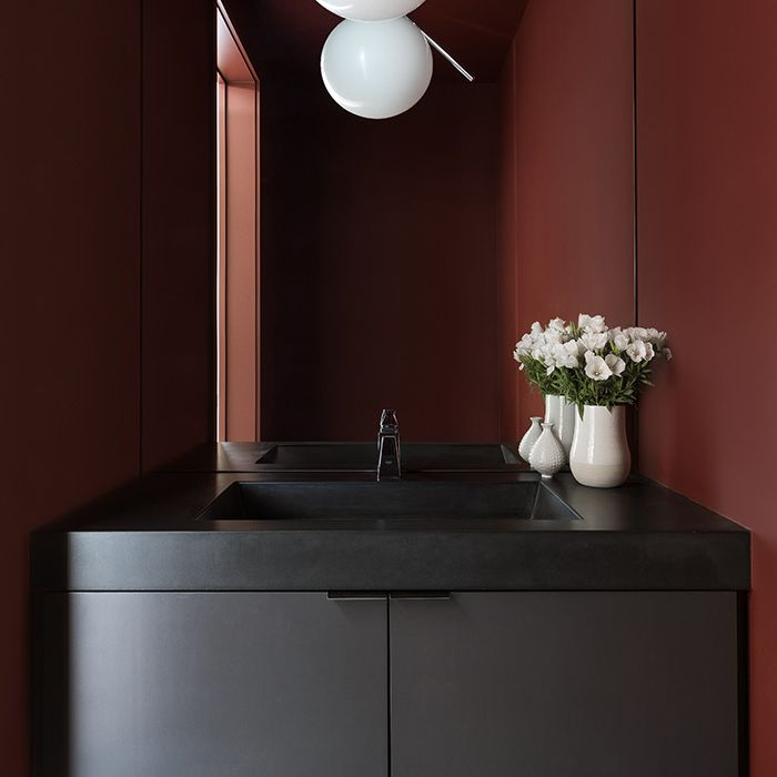 Red and black powder room