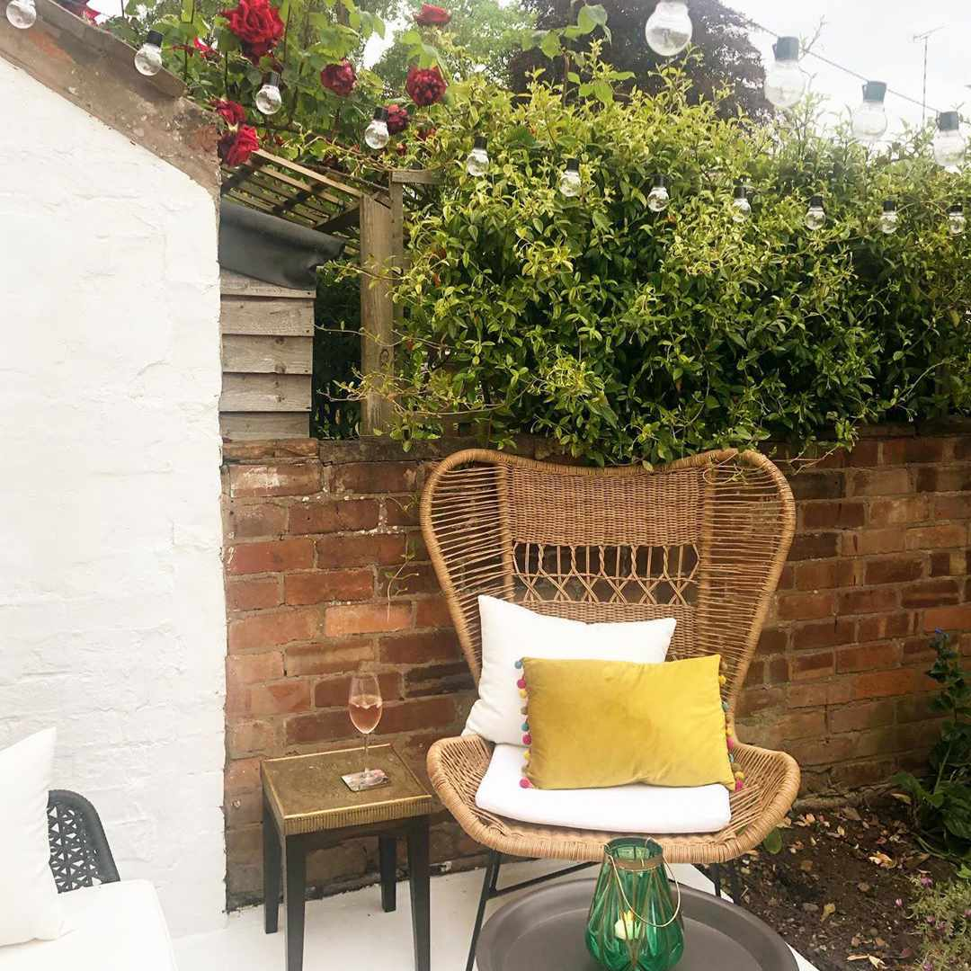 Outdoor furniture with yellow pillow