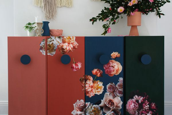 ikea ivar hack with floral decoupage