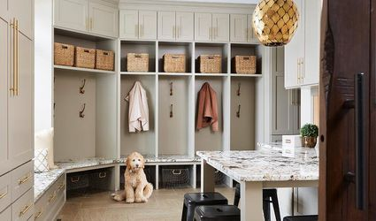 Huge mudroom storage unit with benches