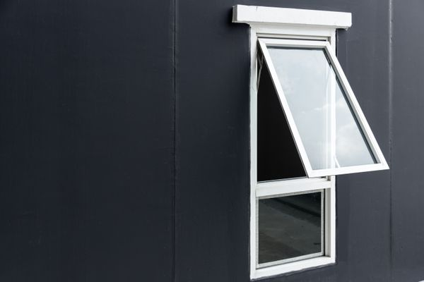 Casement Awning Window opening uPVC aluminium frame with space for text
