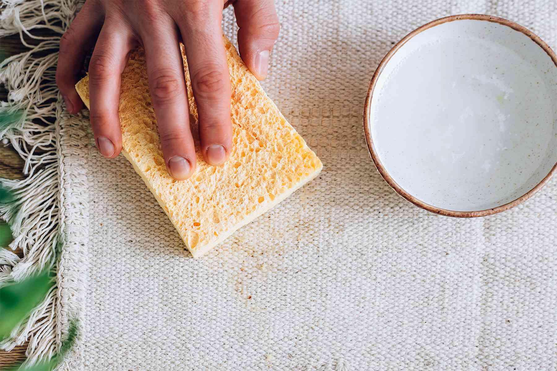 Sponge absorbing vomit stained carpet