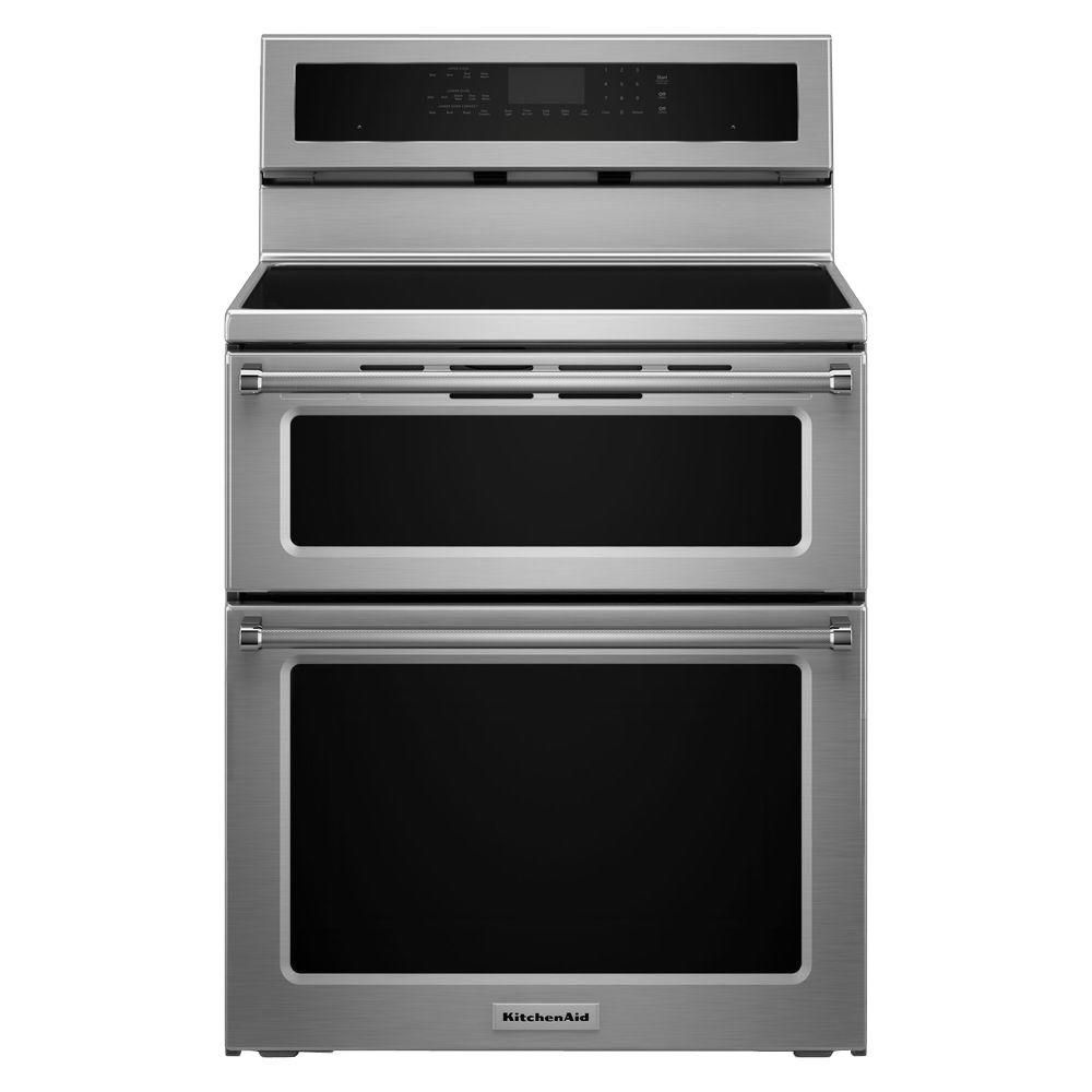KitchenAid 30 in. 6.7 cu. ft. Double Oven Electric Induction Range with Self-Cleaning Convection Oven in Stainless Steel