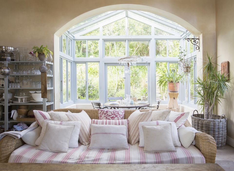 Shabby chic living room and sunroom