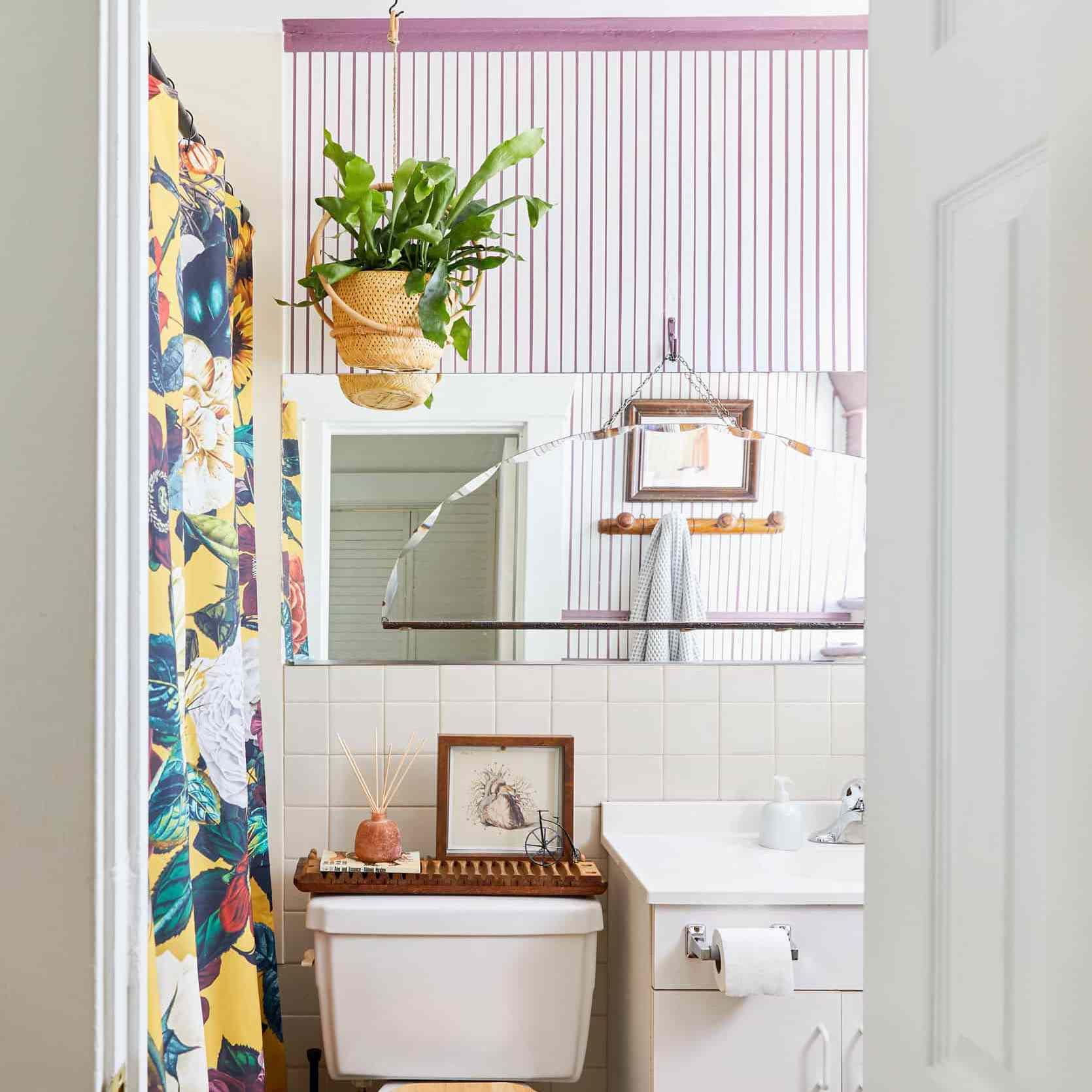 Vibrant shower curtain in a bathroom