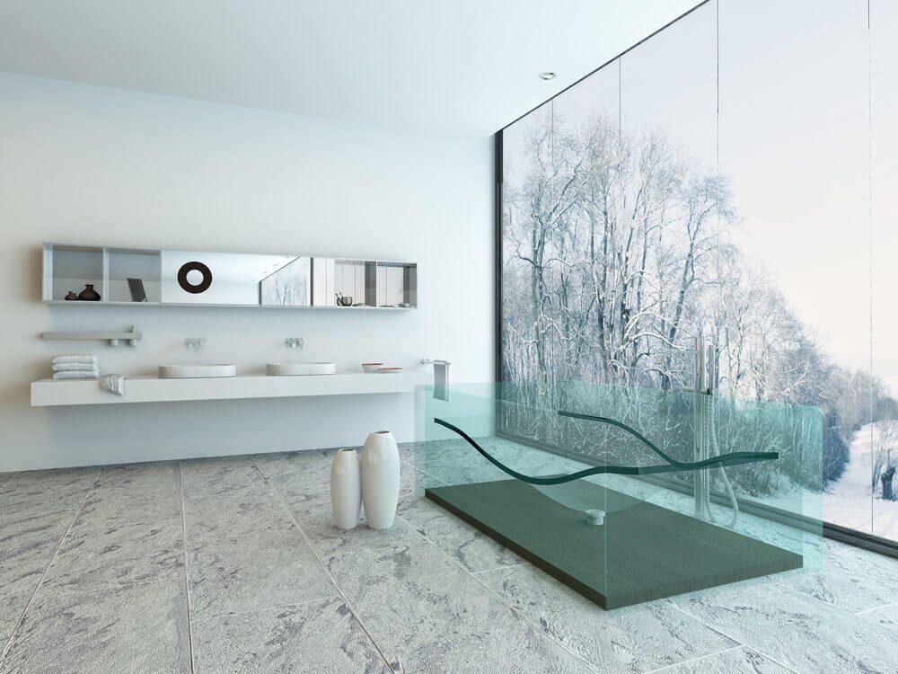 See-through tub in a modern bathroom