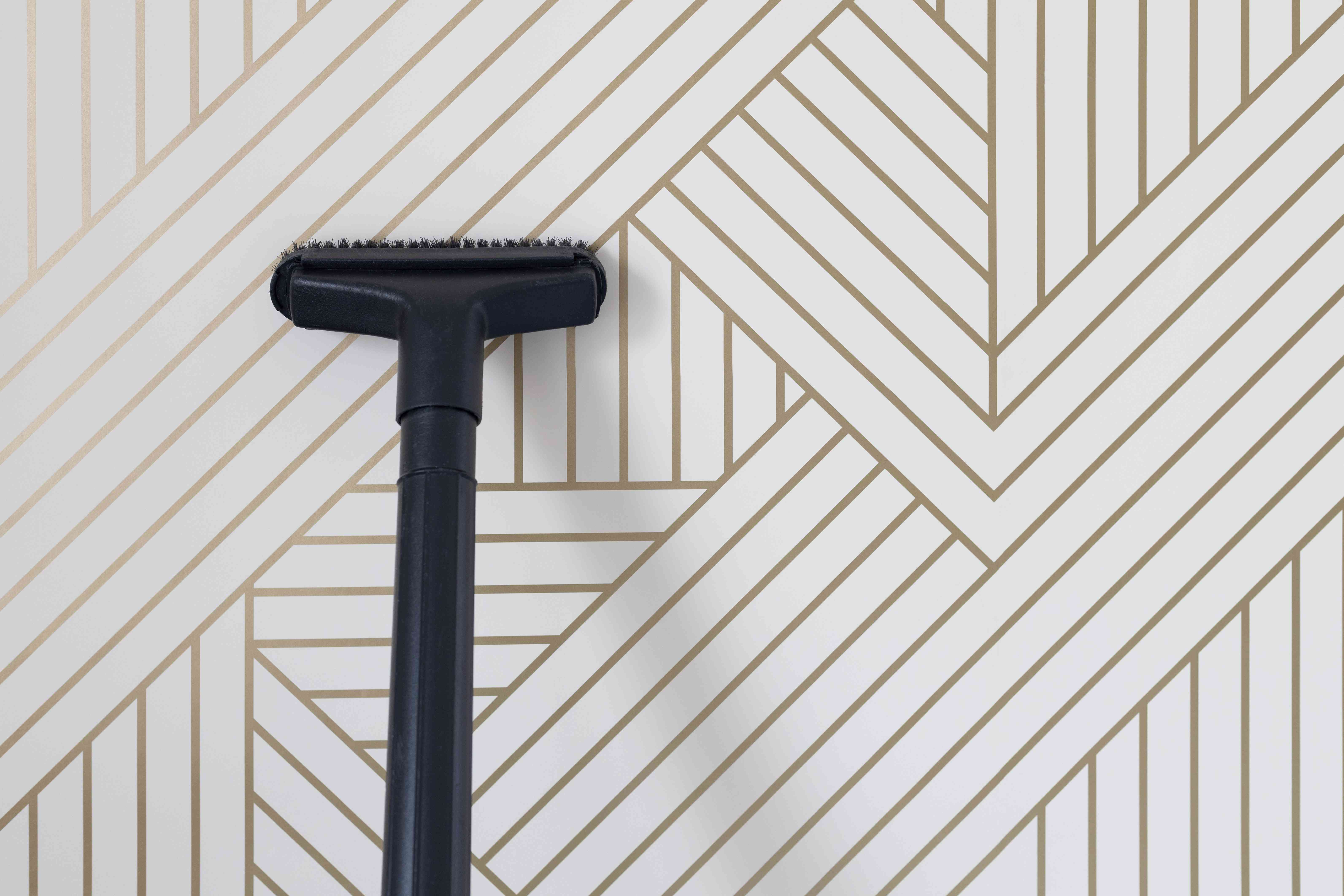 Long hose of vacuum cleaning dust off white and gold striped wallpaper