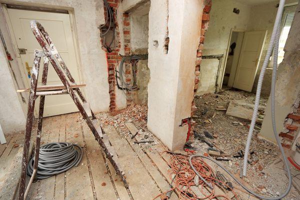 Inside a construction site with debris