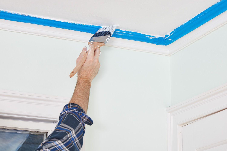 Paint ceiling edges using angled brush