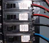 A photo of circuit breakers.