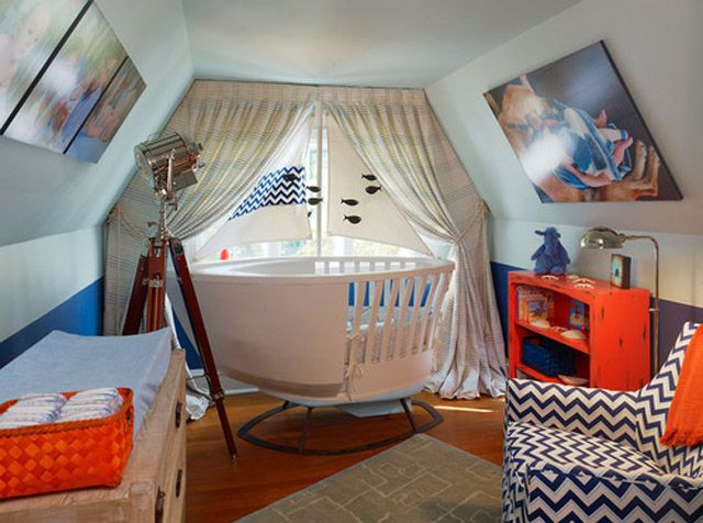Nautical nursery with custom sailboat crib