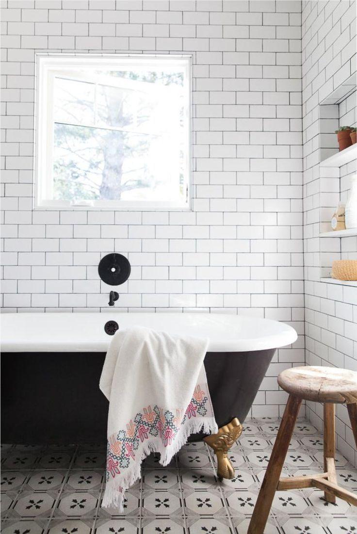 Bathroom with vintage tile floors