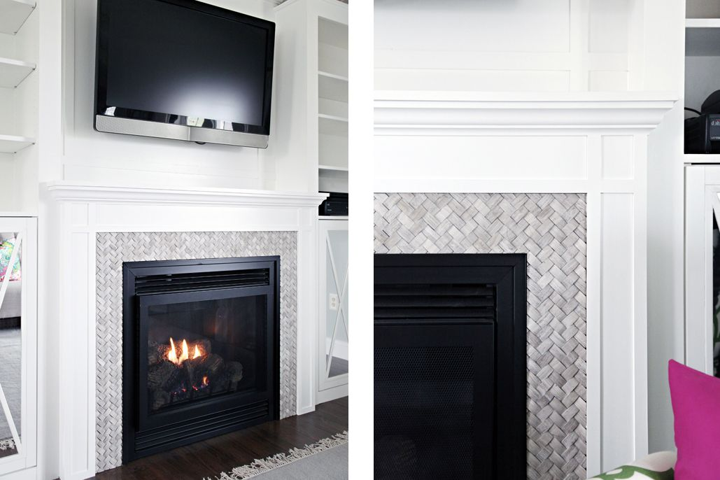 Basket weave 3D marble fireplace