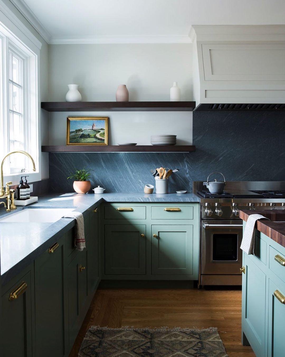 Light mint green kitchen cabinets