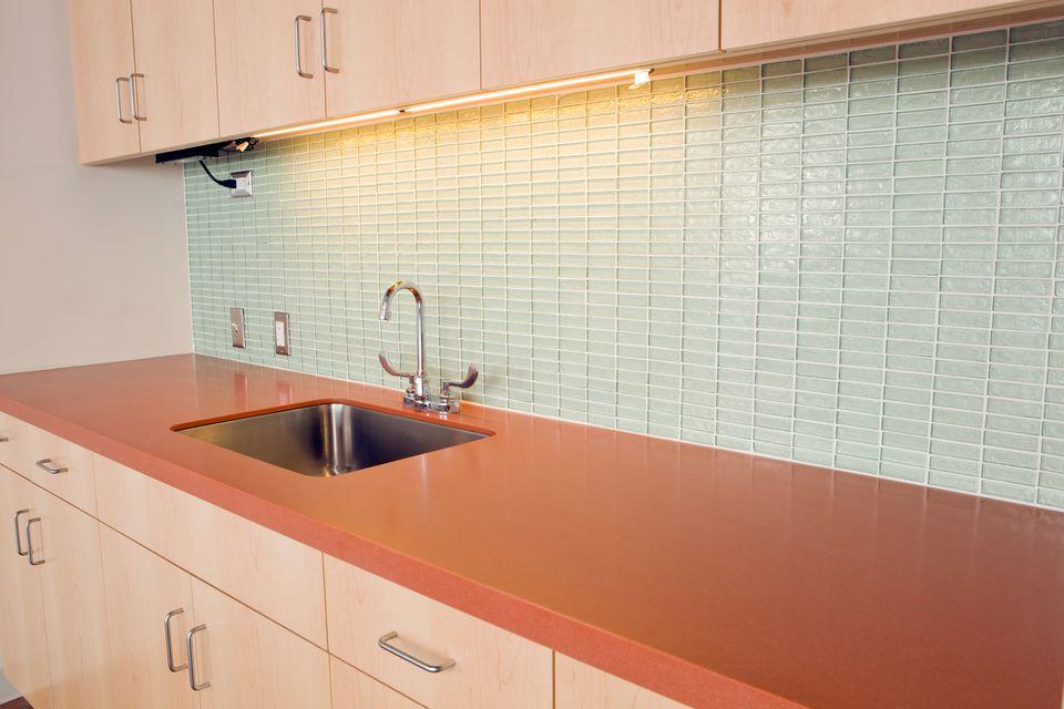 Want Bold Colors? Install Blue Glass Subway Tile Backsplash