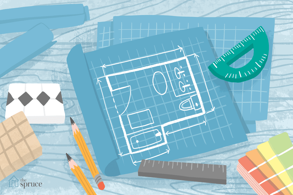 Illustration of bathroom floor plan blueprints with ruler and pencils.