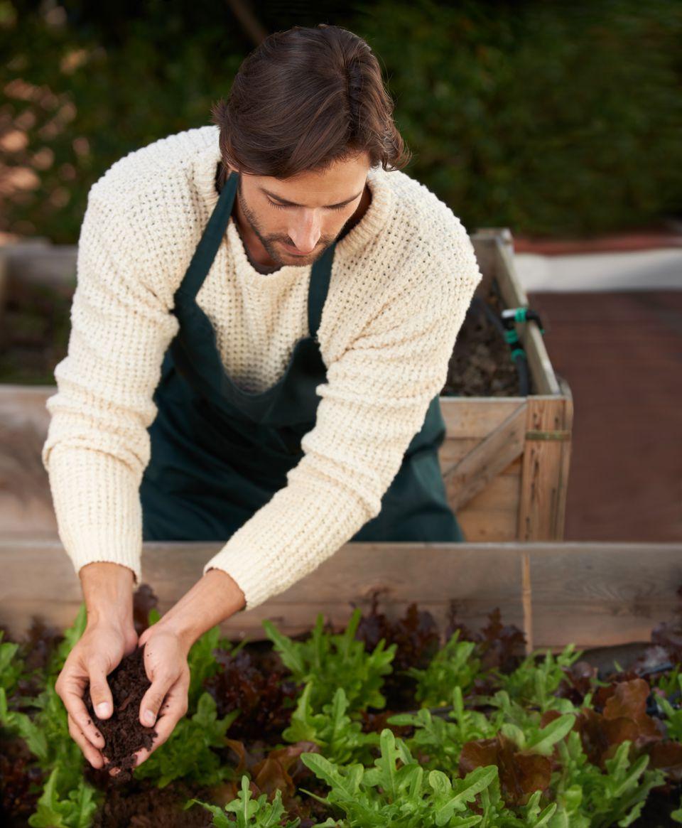 A man tending a garden