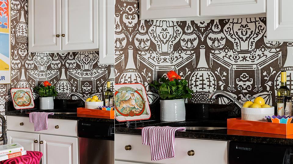 Cocina urbana con mosaico de azulejos marrones
