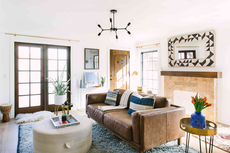 Craftsman living room with double doors