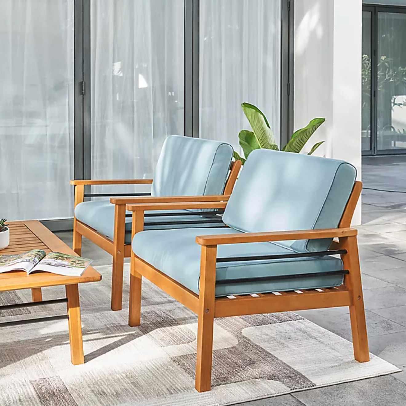 Vifah Gloucester Eucalyptus Patio Sofa Club Chair