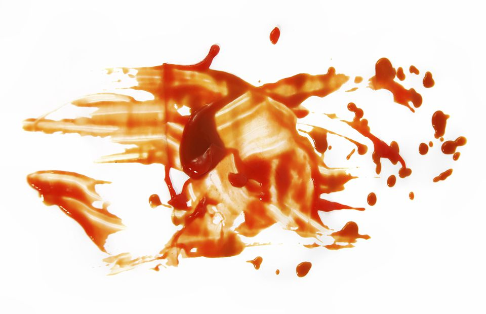 Barbecue sauce stains on white space