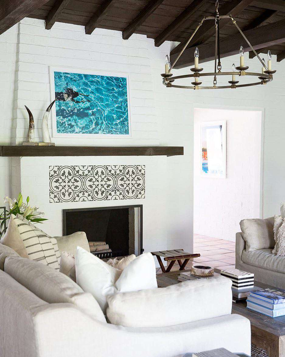 Fireplace with mosaic tile