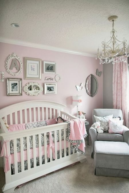 Pink White And Grey Nursery
