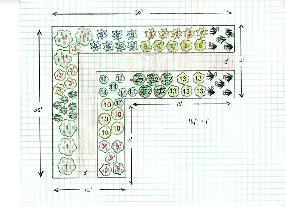 Free Garden Design - Perennial Cutting Garden
