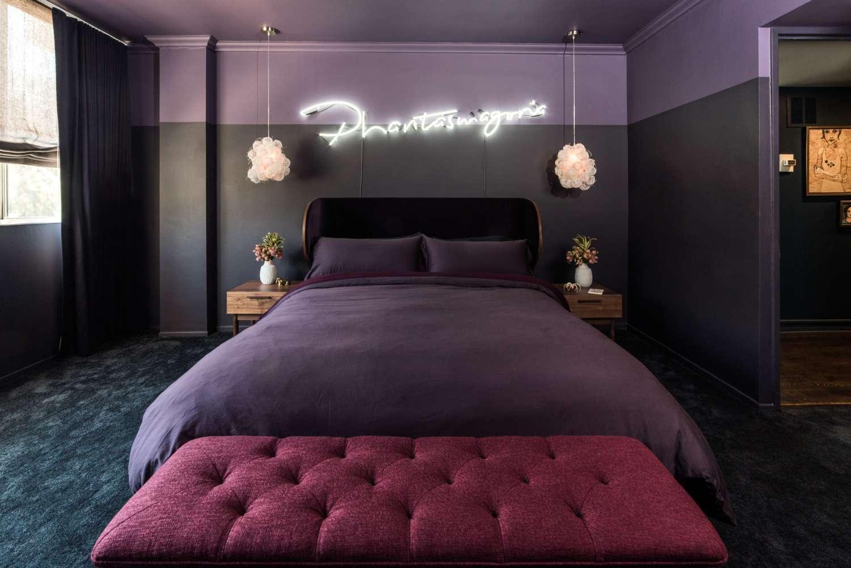 Purple-toned bedroom