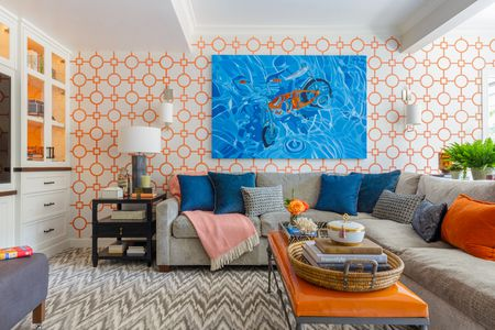 Orange Blue And Gray Living Room
