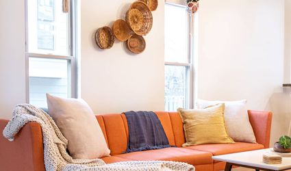 Living room with orange couch