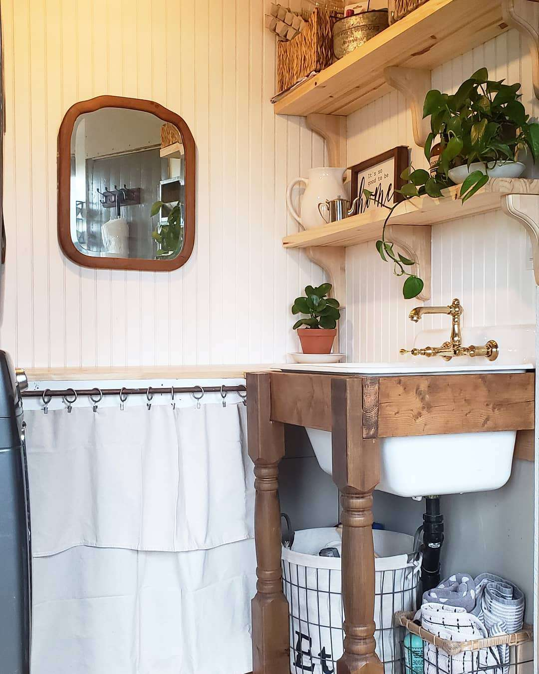 Small rustic laundry room