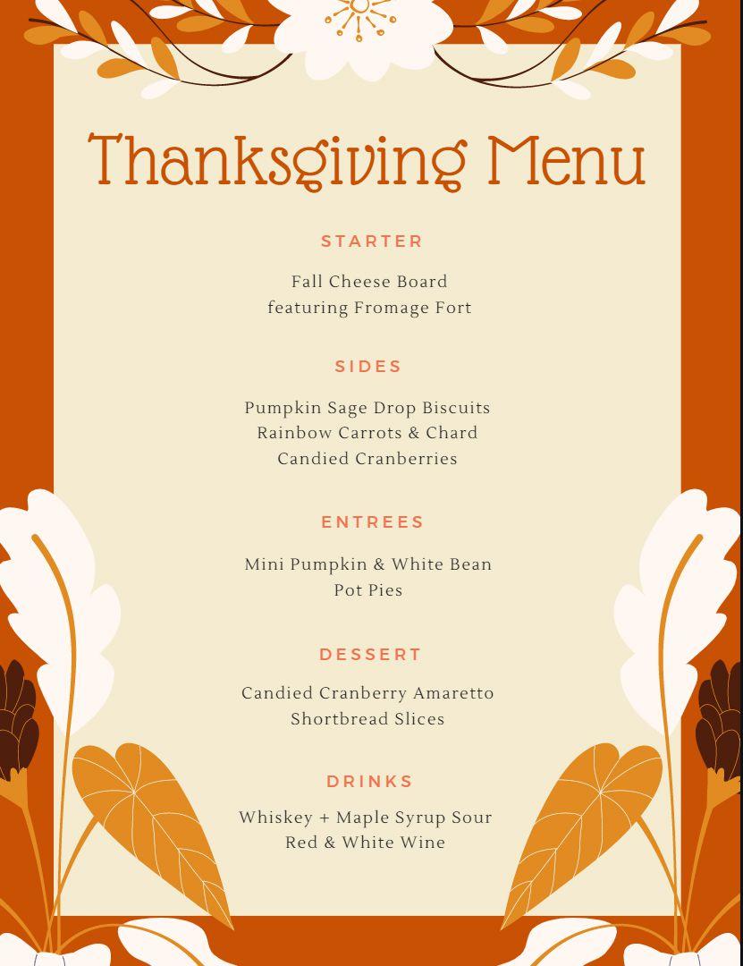 An orange and cream Thanksgiving menu