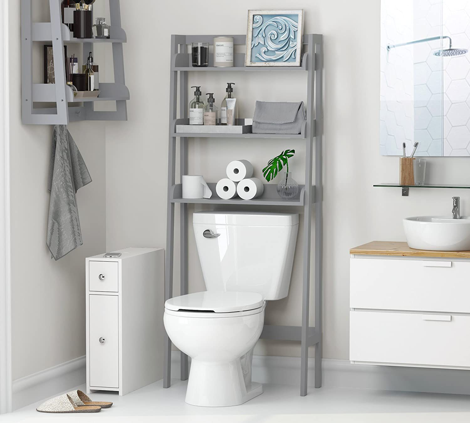 The Toilet Storage Units, White Over The Toilet Cabinet With Towel Bar