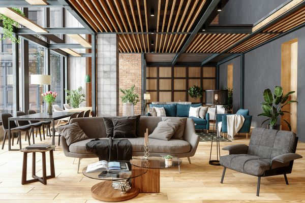 Furniture Showroom With Plants, Spotlights And Brick Wall
