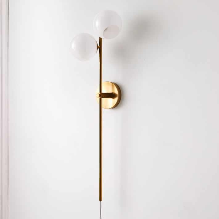 Staggered Glass 2-Light Plug-In Sconce