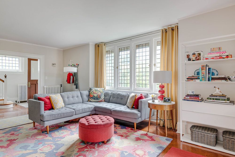 coral and pastels in living room