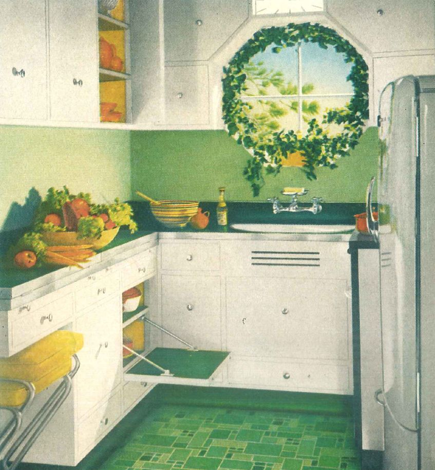 1940s kitchen green linoleum