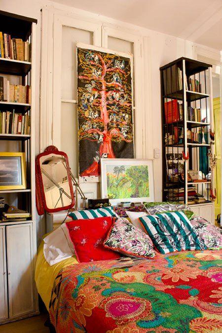 bohemian bedroom with tall bookcases - Boho Bedroom Ideas