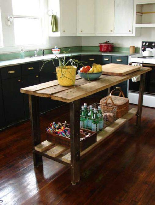 Gabinetes pintados de la cocina de la granja