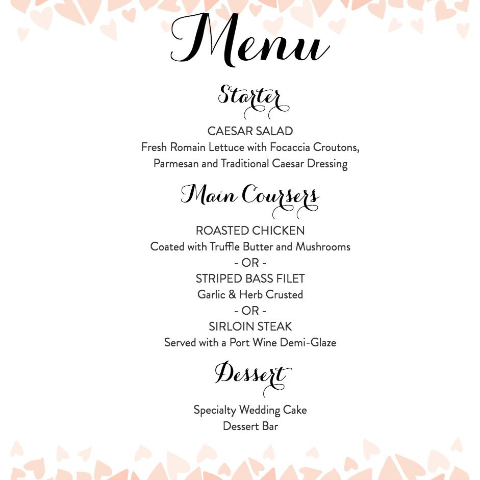 Wedding Menu Template.Download A Free Wedding Menu Template