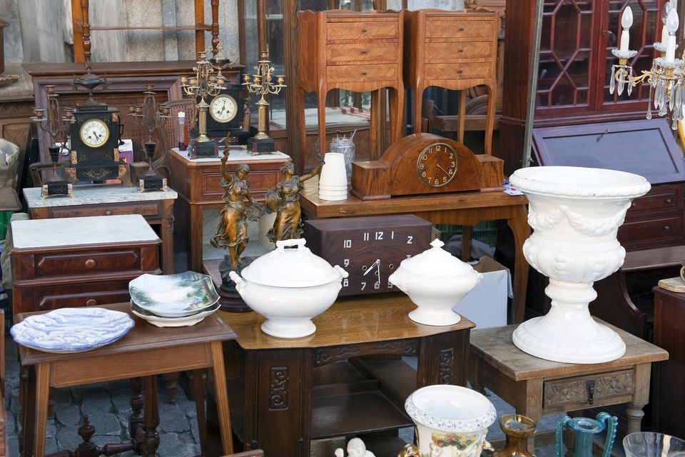 antiques for sale at a flea market