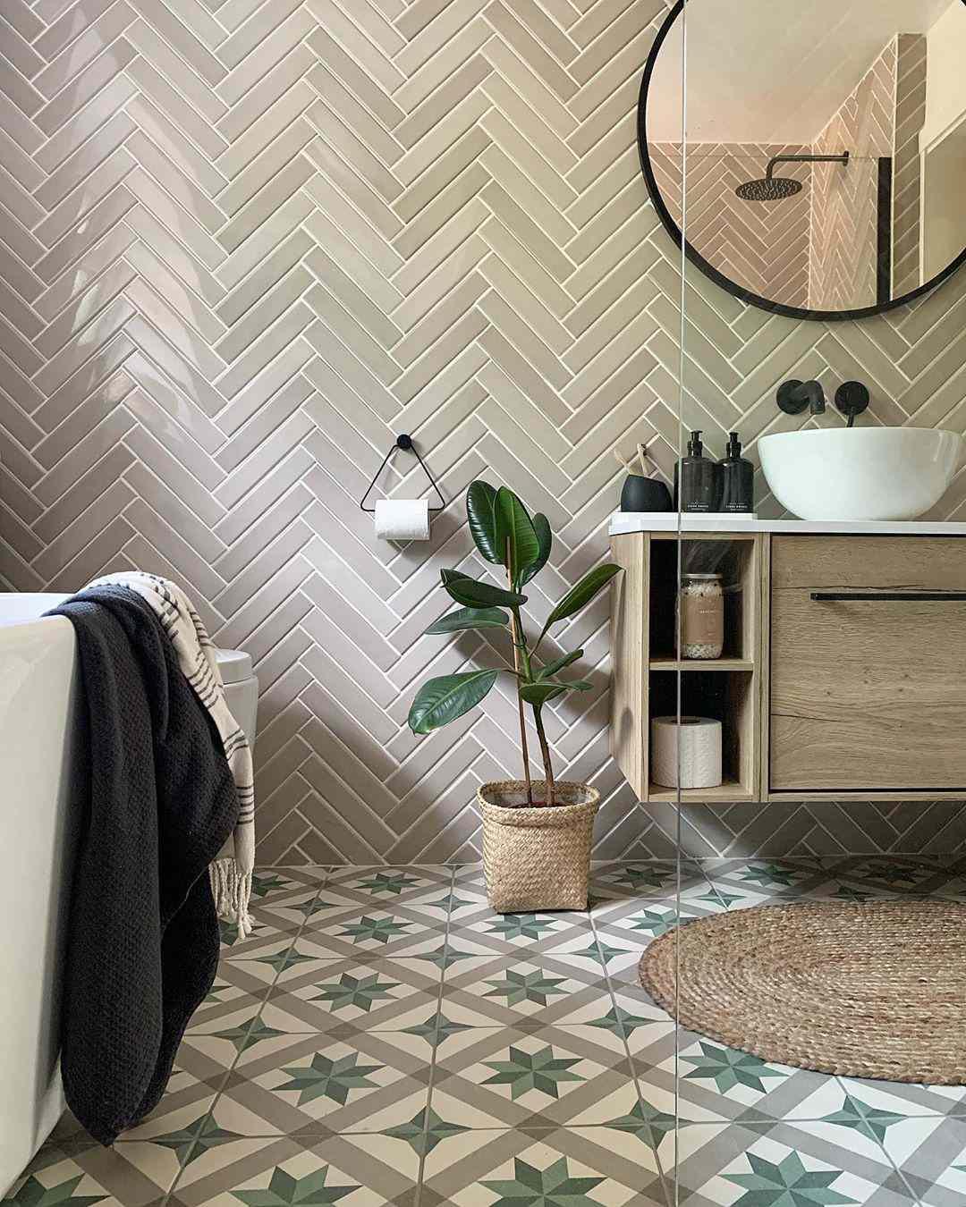 Bathroom with tan tiles