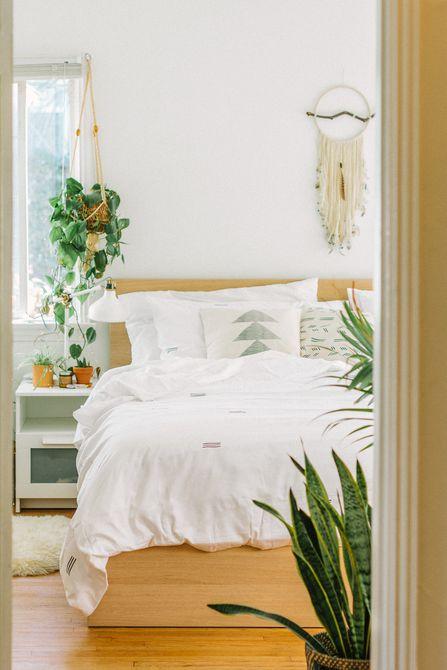 Habitación con muchas plantas y ropa de cama blanca