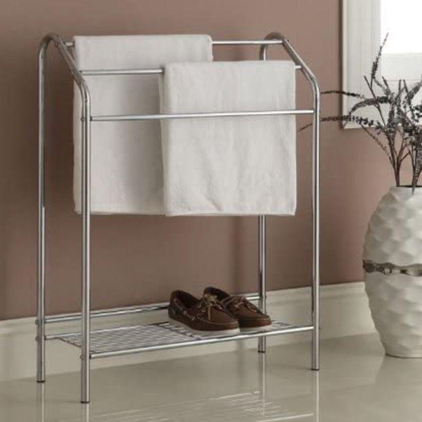 RAAMZO Chrome Finish Towel Bathroom Rack Stand Shelf