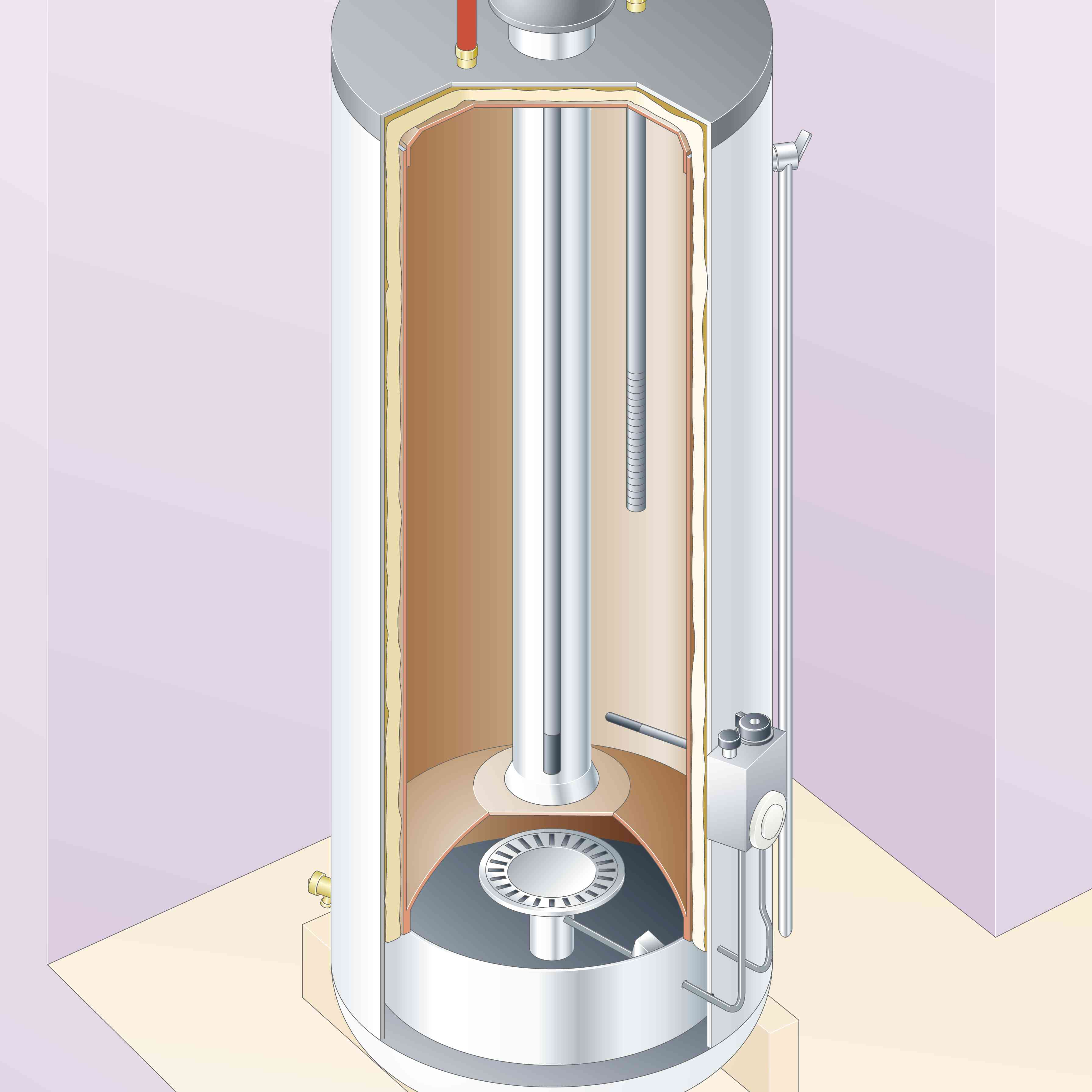Digital illustration of inside of a gas water heater