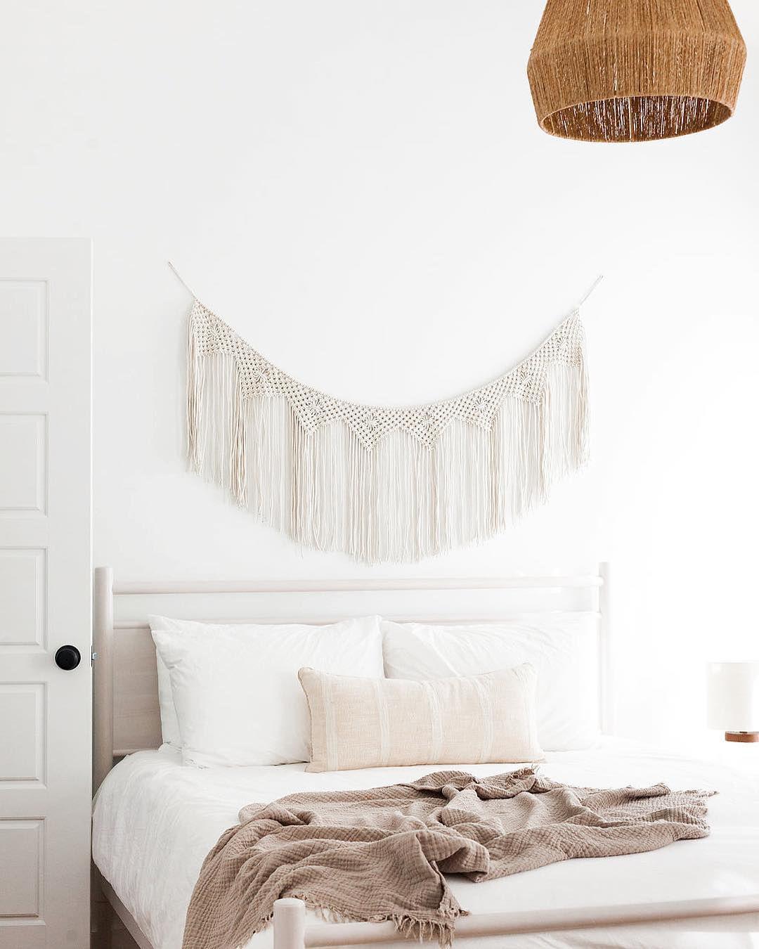 Macramé above a bed